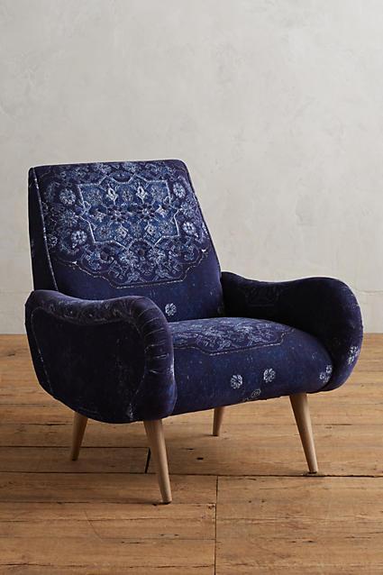 Fresh Indigo Deep Seat MidCentury Vintage Pattern Chair BL74