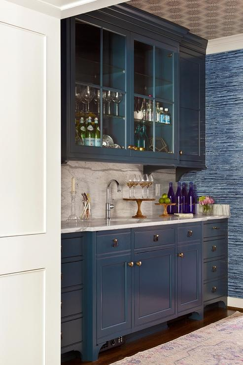 Blue wet bar cabinets with brass hardware transitional kitchen - Wet bar cabinets ...