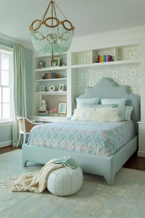 Beau Blue And Gray Girl Bedroom With Turquoise Beaded Chandelier