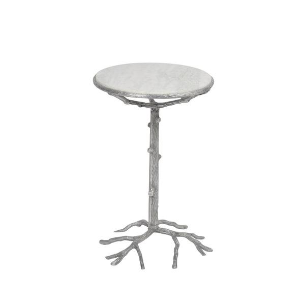 Silver Aluminum Branch Design Side Table