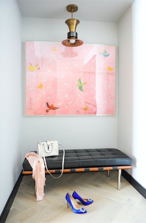 Foyer with Pink Art and Black Bench - Contemporary - Entrance/foyer
