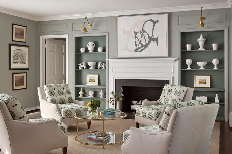 Gray And Green Living Room Features A Light Linen Accent Chairs Placed In Circular Formation Surrounding Round Glass Brass Coffee