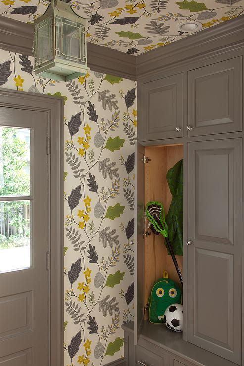 Green And Gray Mudroom With Harlequin Locarno Wallpaper