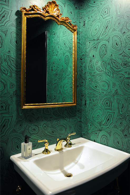 Emerald Green Powder Room With Gold Ornate Mirror