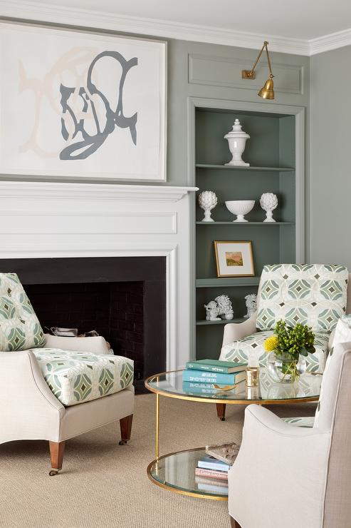 Gray And Green Living Room Features A Light Gray And Green Linen Accent  Chairs Placed In A Circular Formation Surrounding A Round Glass And Brass  Coffee ... Part 63