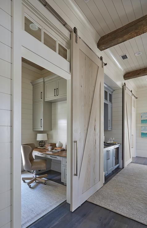 Office with pecky cypress barn door on rails   cottage   entrance ...