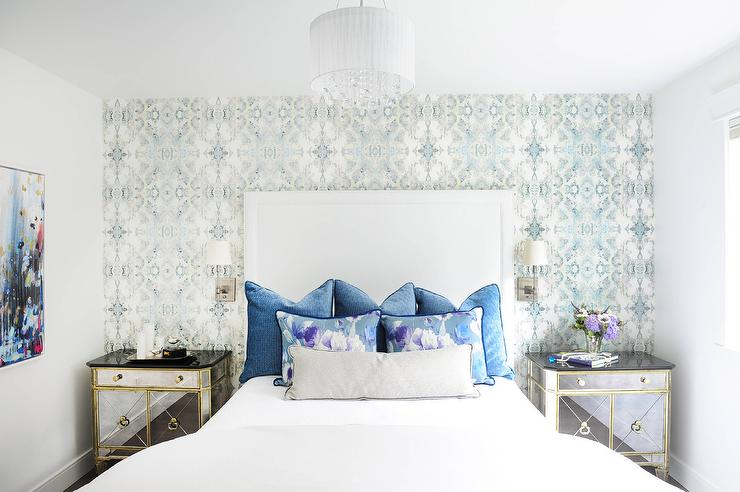 White and Blue Bedroom with Wallpaper Accent Wall ...