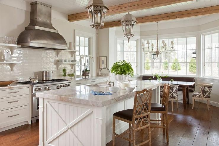 White Beadboard Kitchen Island With Faux Bamboo Counter Stools