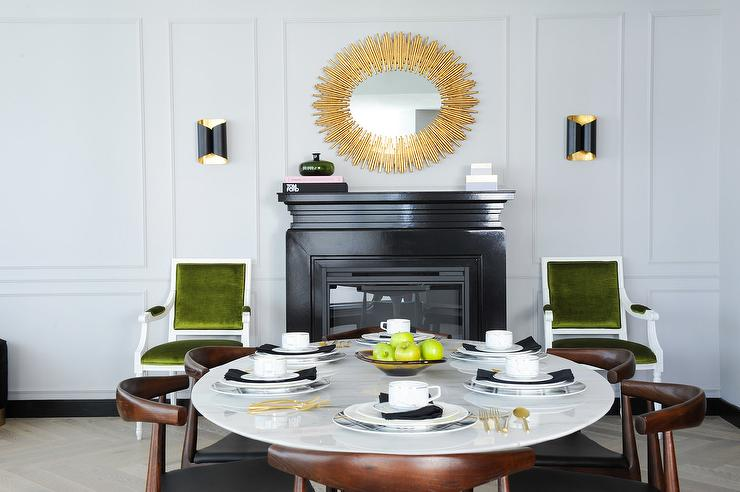 mid century modern dining room with fireplace