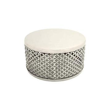 Silver Woven Aluminum Design White Coffee Table