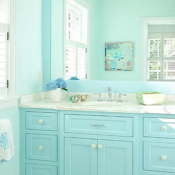 Turquoise Blue Bath Vanity Cabinets With Framed Mirror