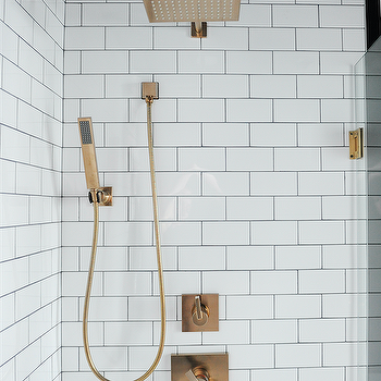 White Subway Tiles With Square Brass Shower Head