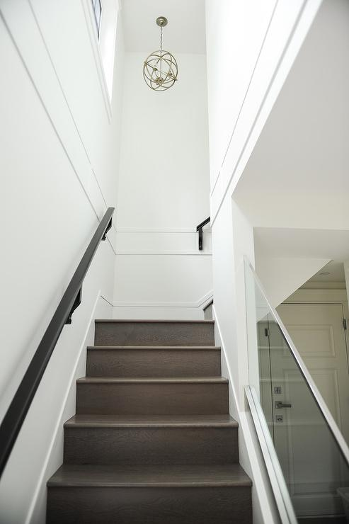 Glass Staircase Railing With Gray Wash Stair Treads