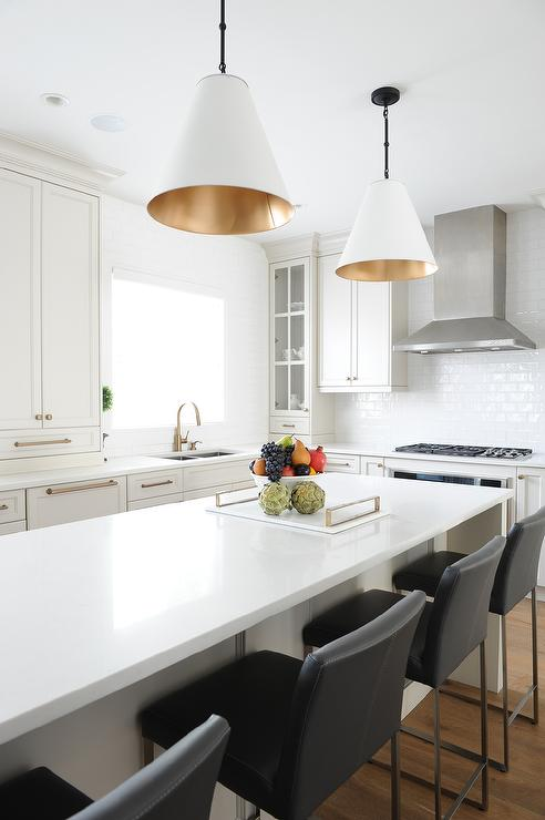 White And Gold Island Light Pendants Transitional Kitchen - Gold kitchen light fixtures