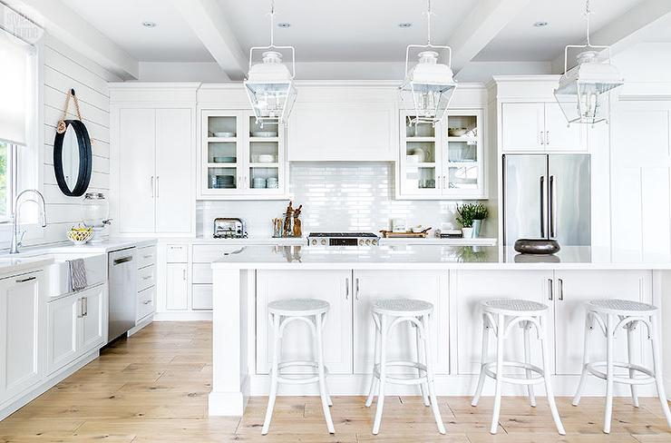 White Cottage Kitchen Island with White French Backless Bar ...