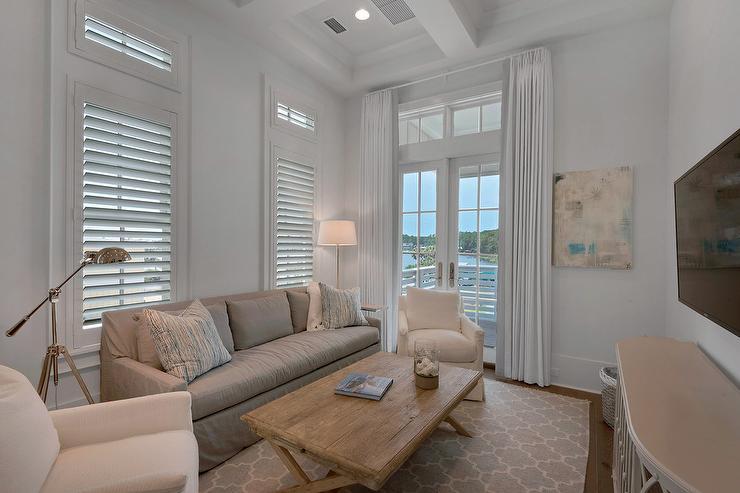 Beach House Family Room With Gray Slipcovered Sofa