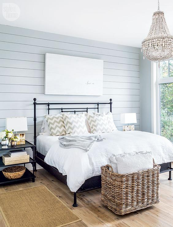 edf0cbd93033 Blue Shiplap Wall with Black Iron Bed - Transitional - Bedroom