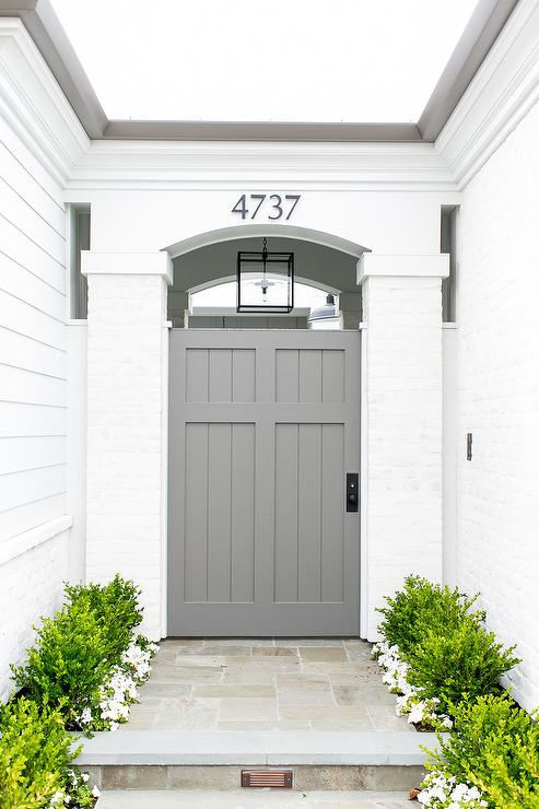 Gray front door transitional porch benjamin moore for Side doors for houses