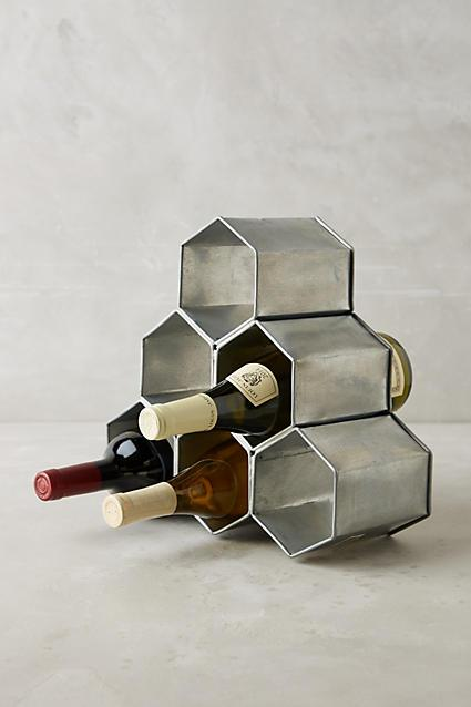 Silver Honeycomb Wine Holder