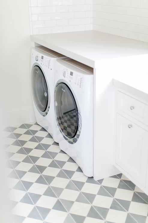 white and gray porcelain laundry room tiles transitional