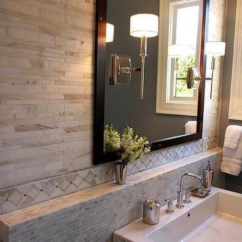 marble wall tiles above marble mini brick backsplash tiles finished