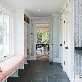 White mudroom with charcoal gray slate herringbone tile for Mudroom floors