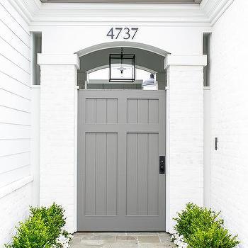 White Brick Home with Gray Shiplap Door & Home Exterior Palladian Front Door Design Ideas
