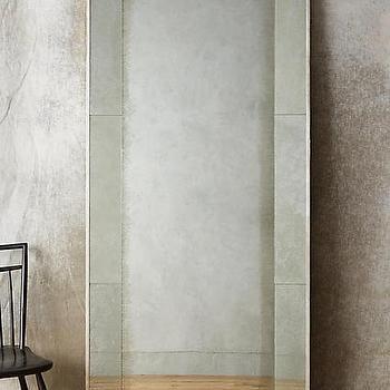 Quinn brass floor mirror for Full length mirror with mirror frame