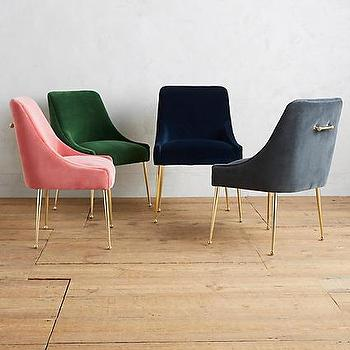 Various Colors Velvet Polished Brass Legs Chair