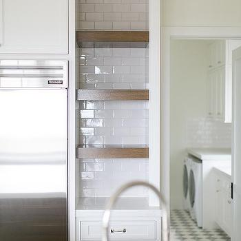 Kitchen Niche With Wood Floating Shelves