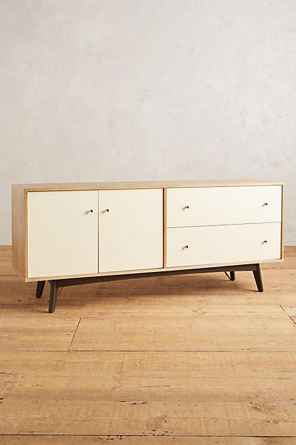 Lacquered White Black Legs Midcentury Sideboard
