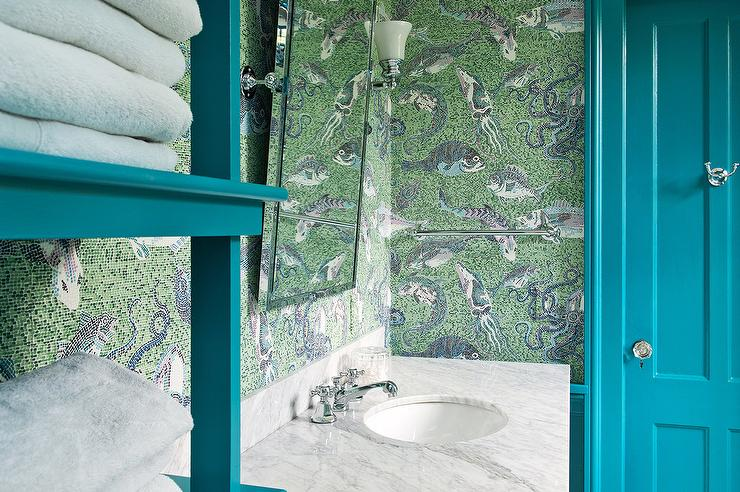 Green And Blue Fish And Squid Kid Bathroom Wallpaper Transitional