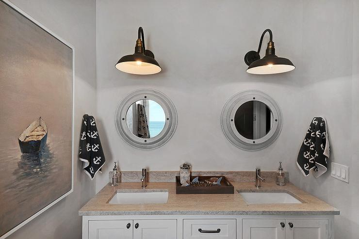 Shared Nautical Boys Bathroom With Gray Porthole Mirrors