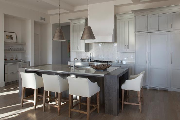 Light Gray Beach Style Kitchen With White Glass