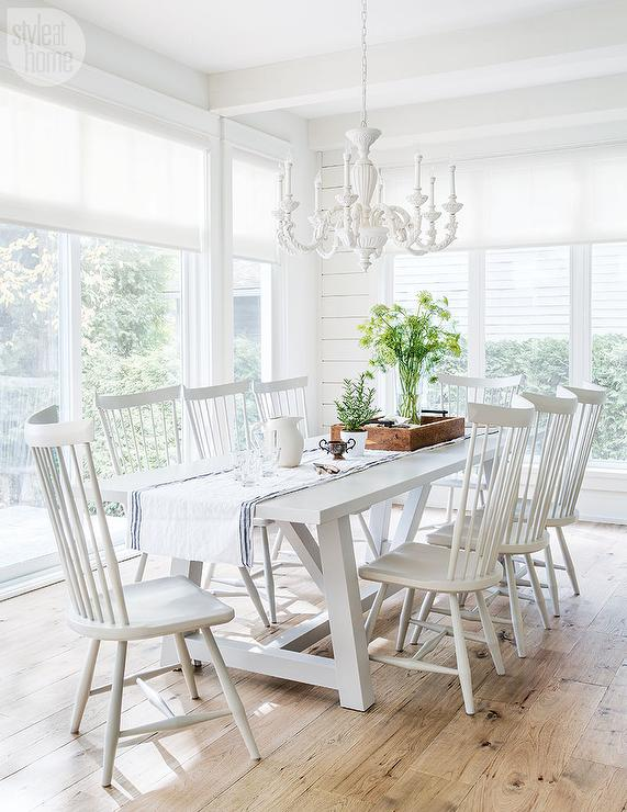 white trestle dining table with white windsor dining chairs