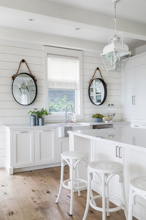 White Cottage Kitchen with Oval Rope Mirrors - Cottage - Kitchen