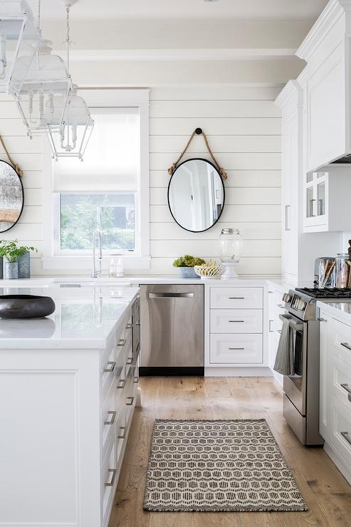 White Cottage Kitchen with White Lanterns - Cottage - Kitchen