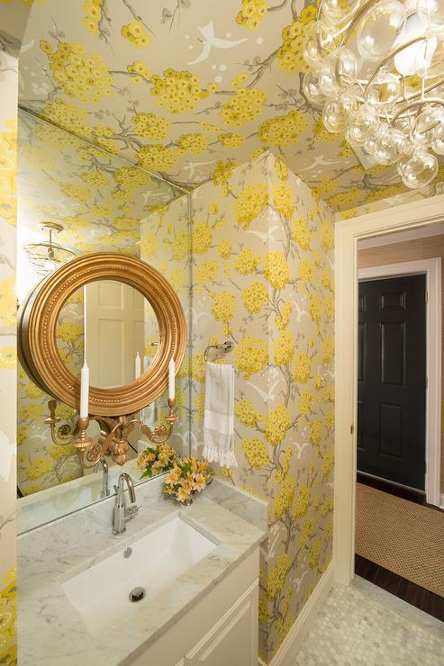 Powder Room with Blue and Gold Trellis Wallpaper
