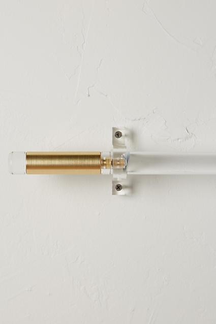 Brass And Acrylic Curtain Rod Set