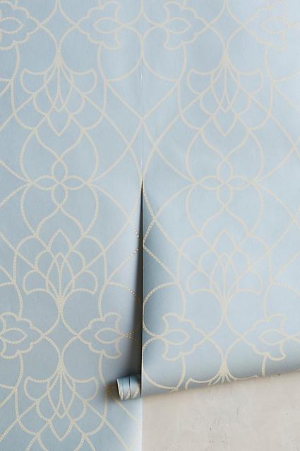 Blue And Cream Swirl Pattern Wallpaper