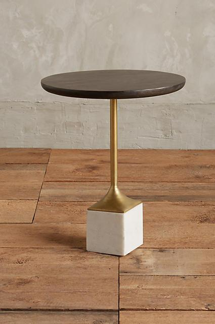 Gray Wooden Cube Marble Base Side Table - Marble and wood side table