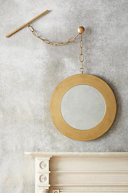 Chain Hung Geometric Gold Mirror