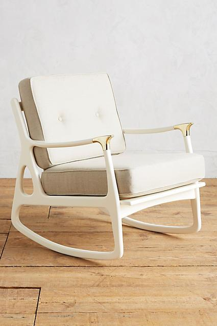 lacquered cream midcentury rocking chair
