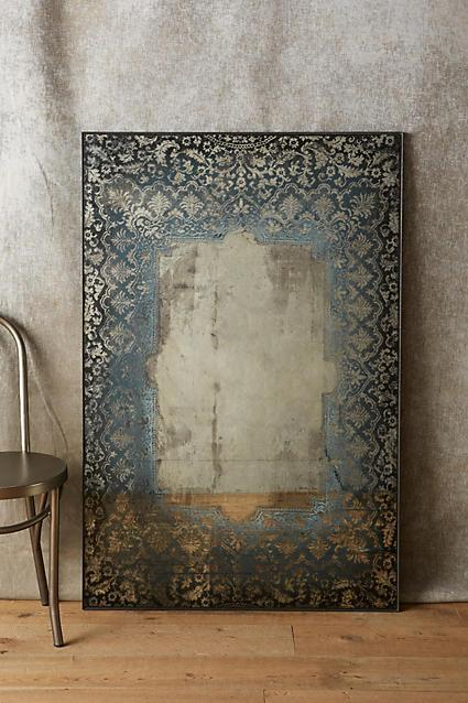 Black Lace Border Antique Mirror