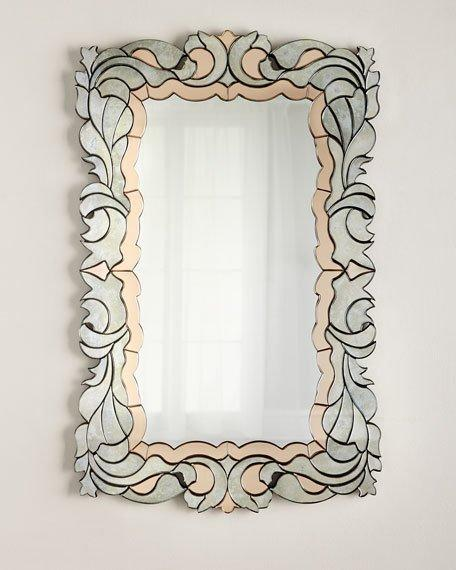 Swirl Panels Pink and Clear Glass Frame Mirror