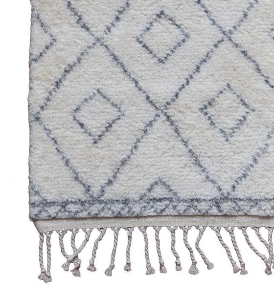 Black And Beige Diamond Pattern Tassel Rug