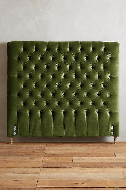 Green Diamond Tufted Velvet Headboard