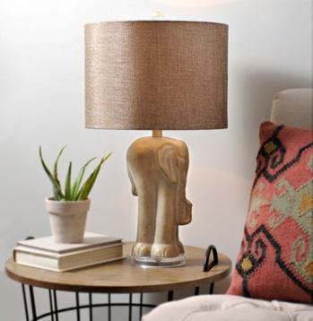 Golden Elephant Drum Shade Table Lamp
