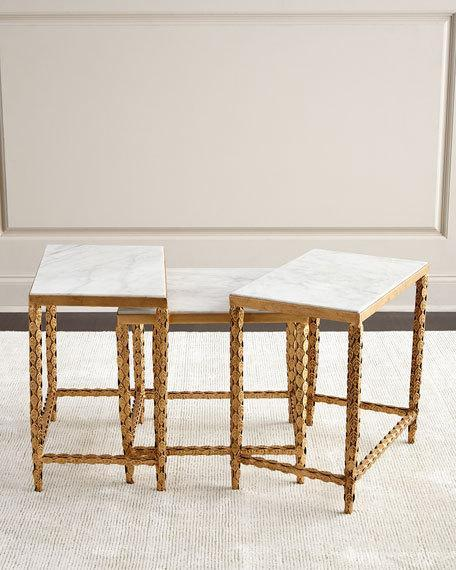 And white inset marble nesting tables gold and white inset marble nesting tables watchthetrailerfo
