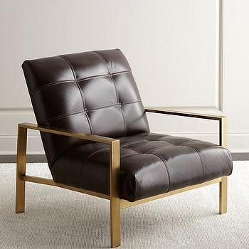 Brown Tufted Leather Brass Arms Chair